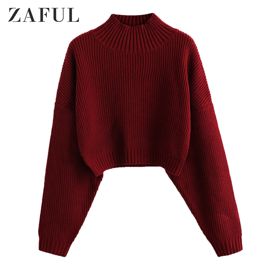 ZAFUL Drop Shoulder High Neck Plain Sweater Fall Winter Solid Color Casual Ladies Tops Hot Sell 2019 Pullover Sweaters For Women