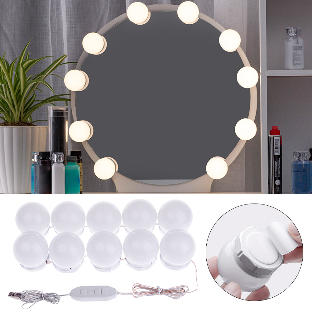 For Makeup Bathroom Decor Wall LED Mirror Light Vanity Lamp 10 Bulbs Stick On Dressing Table Dimmable 5V USB Hollywood Style