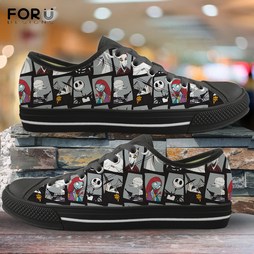 FORUDESIGNS The Nightmare Before Christmas Printed Women Low Top Canvas Shoes Spring/Autumn Ladies Shoe Lace Up Female Footwear