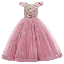 Girls Dress Embroidery Long Birthday Evening Party Ball Gown Kids Dresses For Girls Elegant Princess Dress Children Clothing 2019 lace embroidery dress kids dresses for girl princess autumn winter party ball gown children clothing wear dress for girls