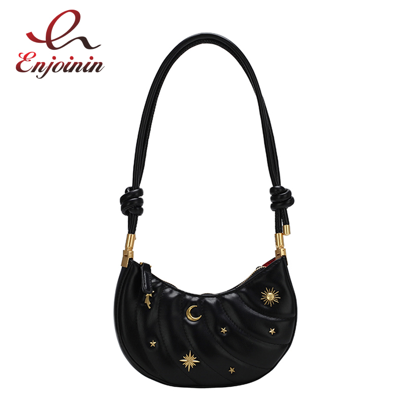 Crescent Shape Badge Design Leather Women Fashion Saddle Bag Purses And Handbags Shoulder Bag Female Totes Crossbody Bag Pouch Shoulder Bags Aliexpress