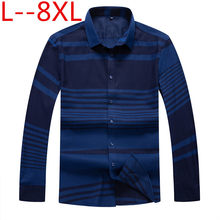 plus size 10XL 8XL 6XL 5XL 4X New Men Striped Shirt Long Sleeve Lapel Casual Male Shirt Loose Fit Business Dress Shirts Clothing(China)