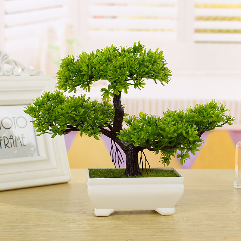 Pine Tree ดอกไม้จำลองประดิษฐ์ Bonsai ปลอมสีเขียวหม้อพืชเครื่องประดับ Home Decor CRAFT