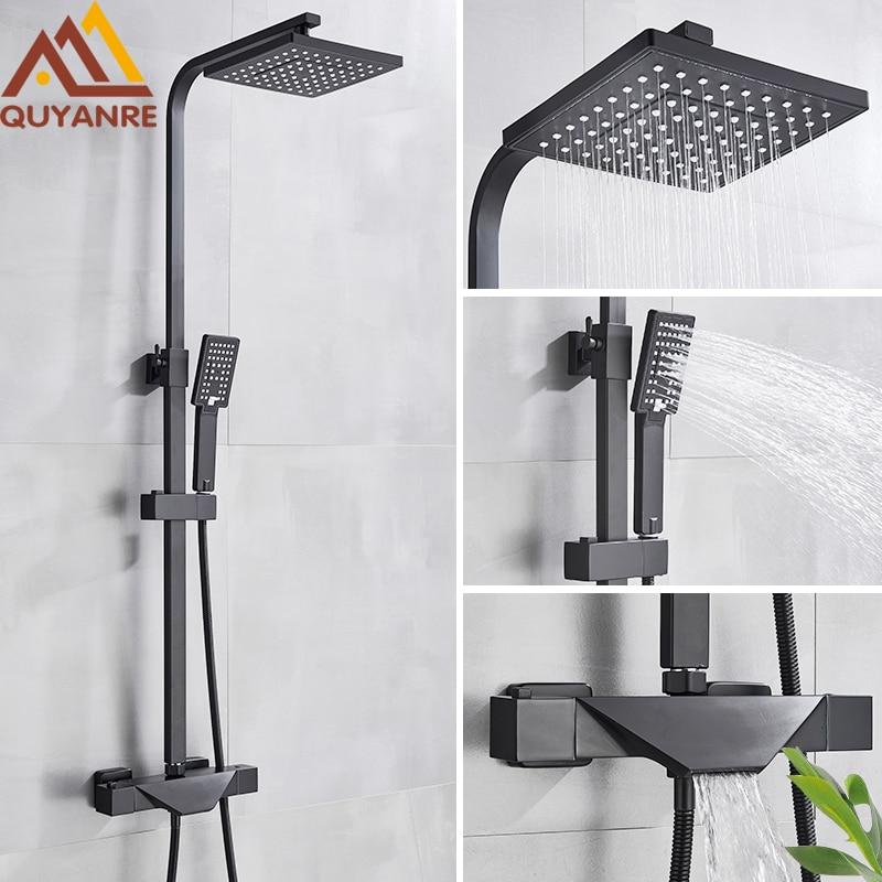Quyanre Black Chrome Thermostatic Shower Faucets Set Bathroom Shower Mixer Tap Faucets Hot Cold Bathtub Thermostatic Shower Tap