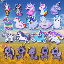 Pulaqi New Lovely Colorful Unicorn Patch DIY Iron On Embroidered Patches For Clothes Stickers on Clothes Cartoon Stripe Applique(China)