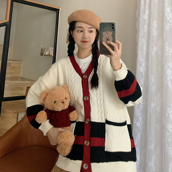 Autumn Winter Cardigan Sweater Women V-Neck Button pocket Sweet Sweaters Korean Casual Vintage knitting Tops