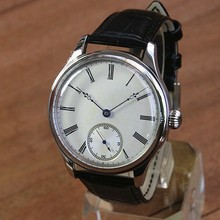 44mm GEERVO convex mirror white dial Asian 6497 17 jewels Mechanical Hand Wind m