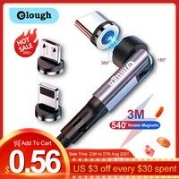 Elough 540 Drehen Magnetischer Kabel Schnelle Lade Magnet Ladegerät Micro USB C Kabel Für iPhone Xiaomi Typ C Telefon Ladegerät draht Kabel