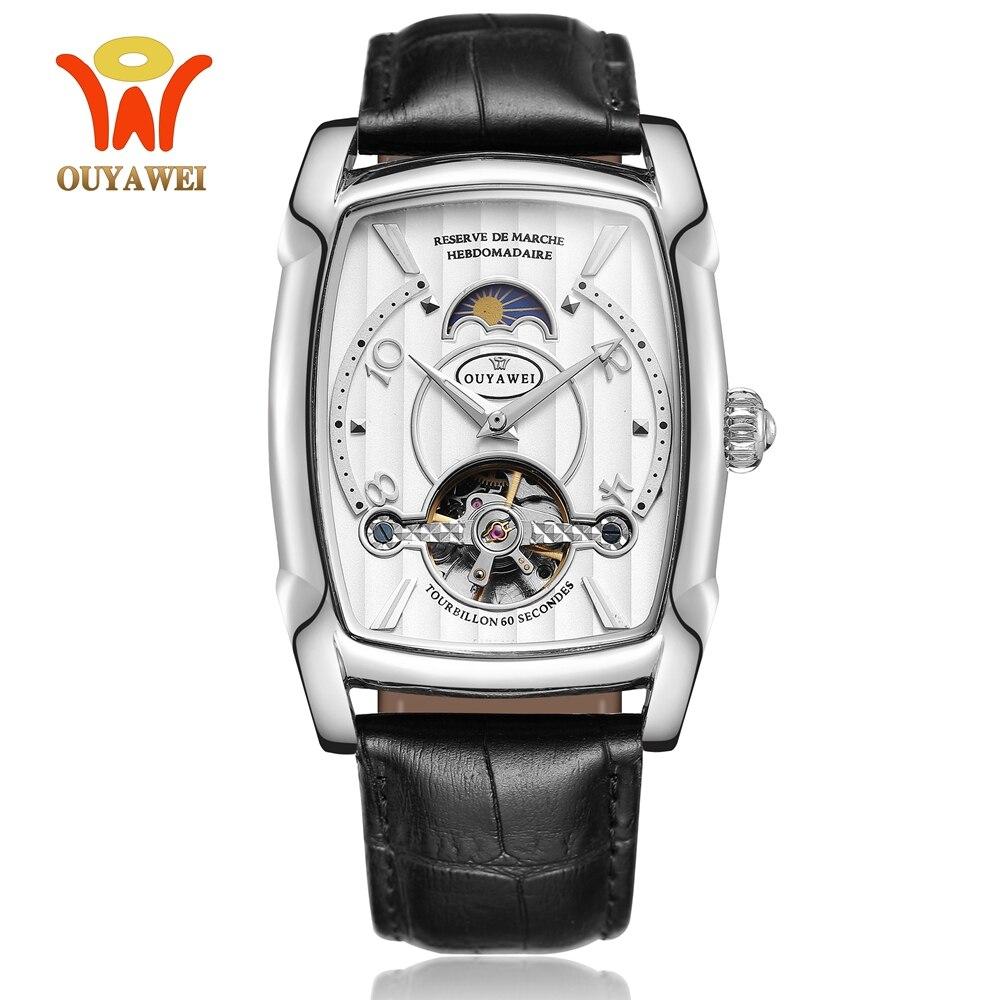 2019 mode hommes automatique mécanique montre-bracelet tonneau cadran blanc bracelet en cuir tourbillon étanche hommes montres horloge cadeaux