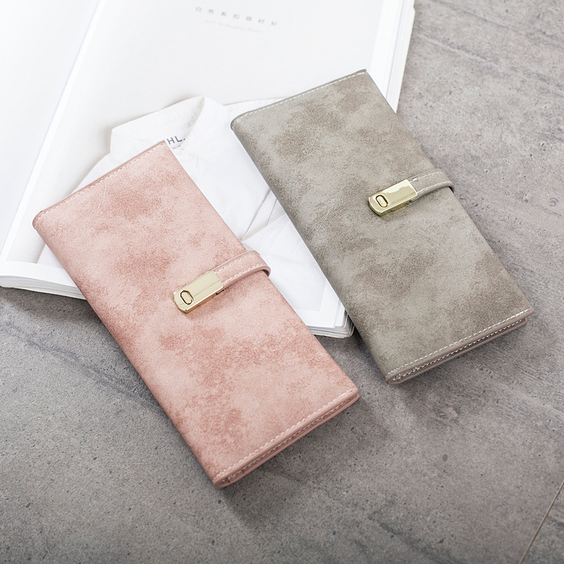 Hot Ultrathin Sweet Matte Leather Long Wallet For Women Magnet Hasp Phone Purses For Ladies Cards Holder Fresh Girls' Coin Purse