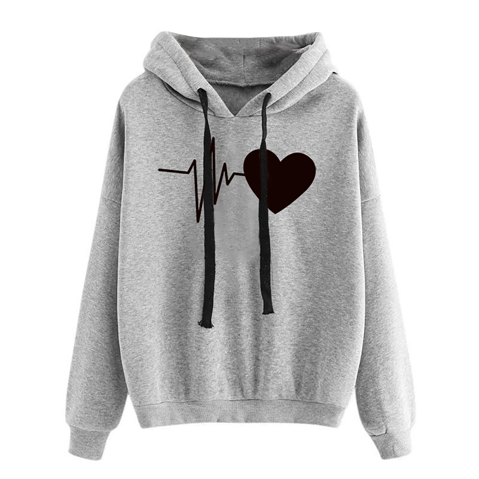 Women Hoodies Casual Love Print Solid Loose Drawstring Sweatshirt Long Sleeve Hooded 2020 Spring Autumn Female Pullover Tops 2