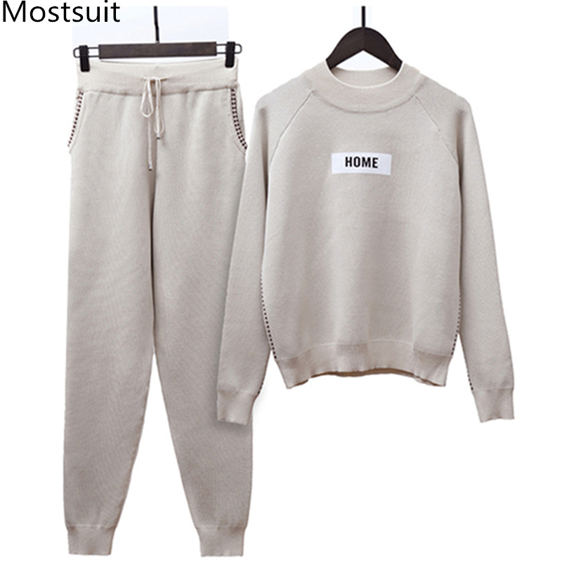 2019 Winter Thicken Women Knitted Two Piece Sets Outfits Women Sweater Pullover And Harem Pants Suits Casual Fashion 2 Pcs Sets 31