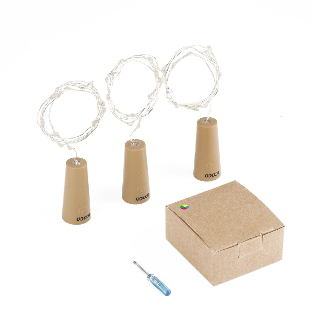 3 Pcs Wine Bottle Cork Lights Copper LED Light Strips Wire Starry Lamp Kit DIY With Battery For Party Holiday Decoration