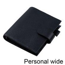 Motom luxe série planejador de tamanho largo pessoal com 30 mm prata anéis litchi grão couro notebook agenda organizador