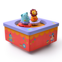 Childrens creative rotating animal music box baby lullaby wooden Christmas gift educational musical learning toys for children