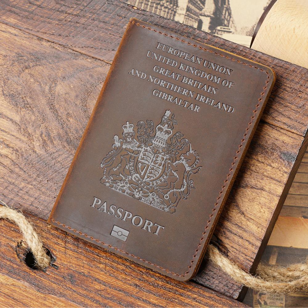 Retro Genuine Leather Passport Cover UK Travel Passport Case Men Retro Cover on The Passport