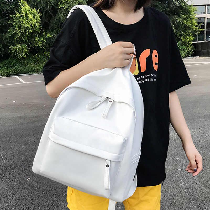 Mochilas de alta capacidad de calidad para mujeres 2019 Color sólido Pu cuero Back Pack adolescentes niñas mochilas escolares volver a la escuela mochila