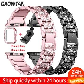 цена на Diamond Band + case For Apple Watch 40mm 44mm 38mm 42mm iWatch series 5 4 3 2 1 bracelet apple watch stainless steel strap women