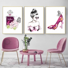 Watercolor Perfume High Heels Butterfly Girl Wall Art Canvas Painting Nordic Posters And Prints Pictures For Bedroom Decor