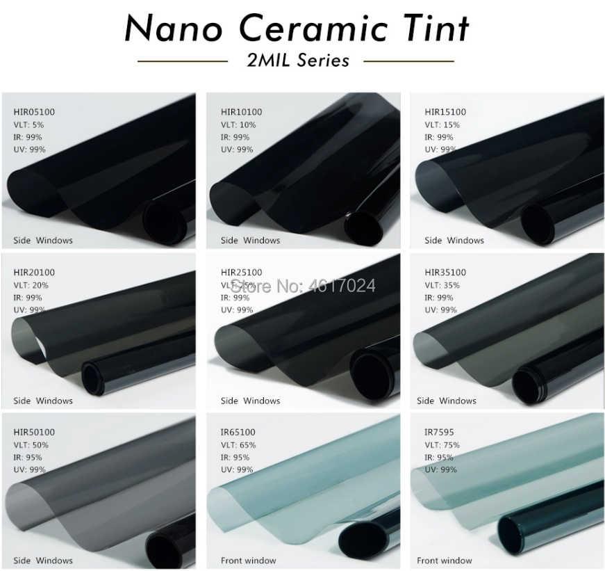 50cm X 300cm süper kalite yüksek ısı dayanıklı araba cam IR100 % nano seramik güneş tonu pencere filmi