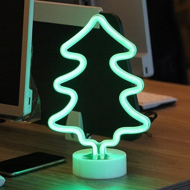 Neon Moon Lamp Holiday Light Flamingo/Heart/Moon/Pineapple/Christmas Tree LED Night Light for Home Festival Wedding Party Decor