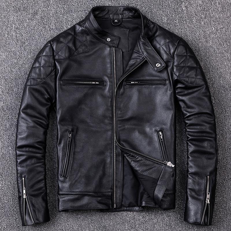 Genuine Leather Jacket Men Clothes 2020 Autumn New Real Cow Leather Jackets Plus Size XXXXL Coat Jaqueta De Couro ZL408