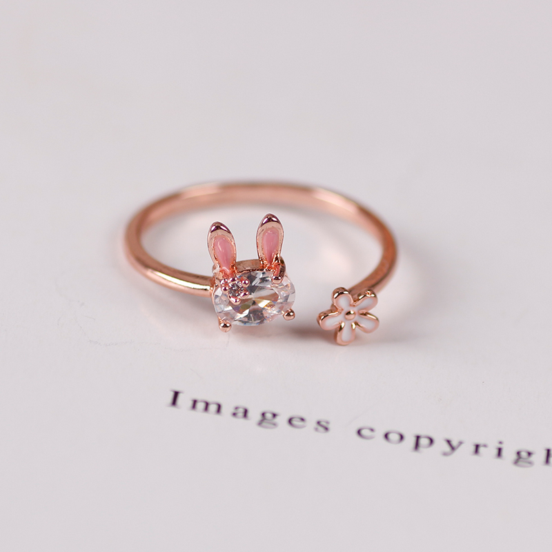 Hot Selling Fashion Jewellery Ladies Ring Cute Rabbit Animal Ring Opening Adjustable Metal Ring 2021 New Female Jewelry Gift 4