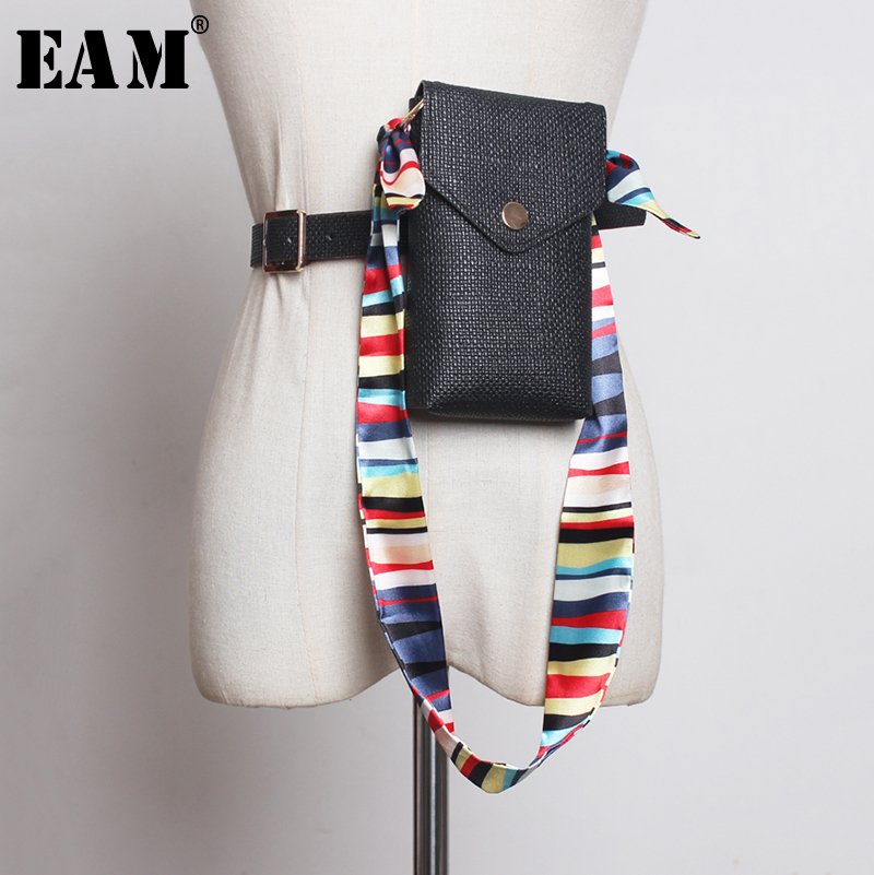[EAM] Pu Leather Colorful Scarf Mini-bag Long Belt Personality Women New Fashion Tide All-match Autumn Winter 2019 1A981