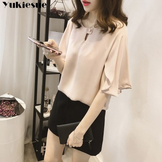 short sleeve 2020 summer women's shirt blouse for women blusas womens tops and blouses chiffon shirts ladie's top plus size 3