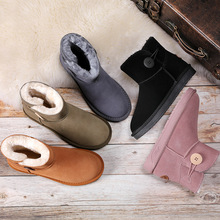 New women winter boots classic high-quality genuine leather snow boots australian brand warm ladies big size boots woman shoes cheap RYAMAG Cow Suede ANKLE Buckle Strap Solid Fits true to size take your normal size Round Toe Flat with Rubber Plush Flat (≤1cm)
