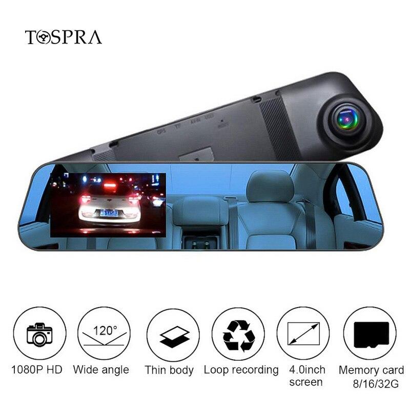 TOSPRA Car DVR Camera 4.0 Inch Video Rear Mirror View Full HD 1080P Loop Recording Dash Cam Recorder Registrars