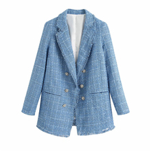 2020 new vintage women tweed za blue long blazer female fashion jewellery button
