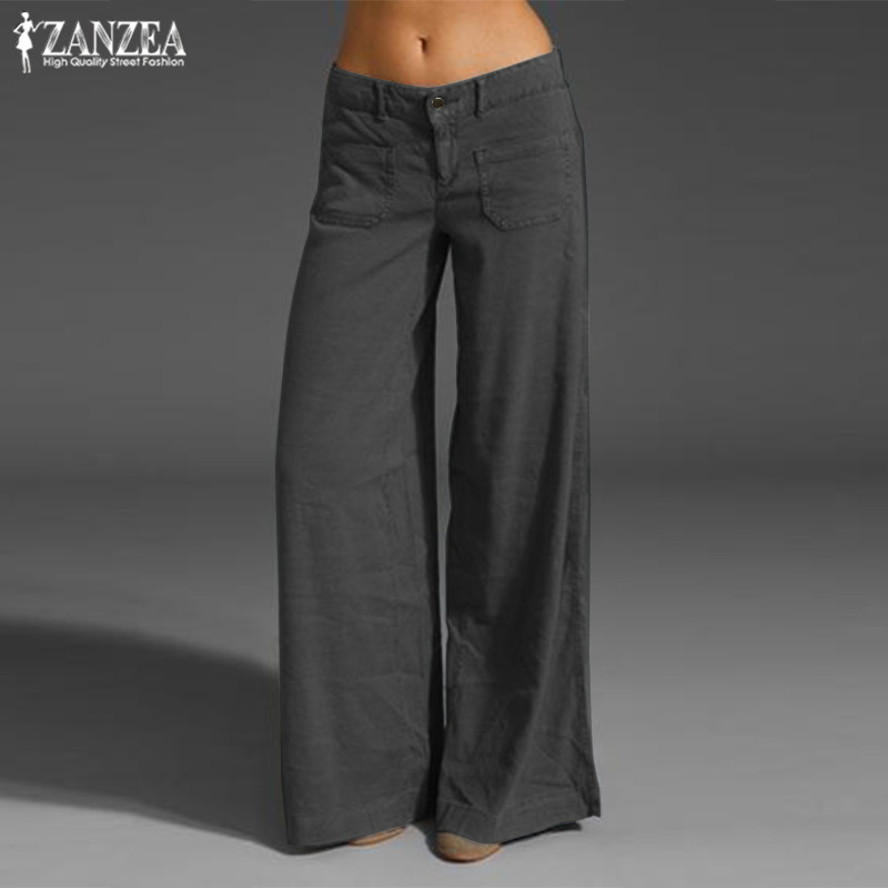 Elegant   Wide     Leg     Pants   Women's Summer Trousers 2019 ZANZEA Vintage Button Front Zip Turnip Causal Turnip Plus Size Pantalon 7