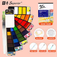 Pigmento dobrável da cor da água do curso para o estudante iniciante superior 42 cores grande conjunto de pintura da aguarela contínua com a pena da escova da água