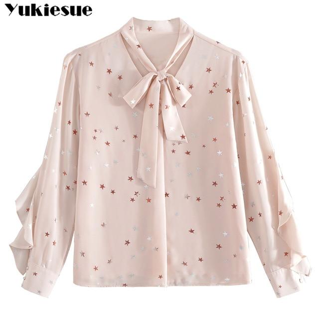 fashion woman blouses summer long sleeve bow collar women's shirt blouse  women blusas womens tops and blouses chiffon shirts 6