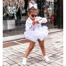 Детское черно-белое Формальное пальто с длинными рукавами для маленьких девочек, куртка, кружевное платье, костюм, юбка, верхняя одежда, осенне-зимняя одежда