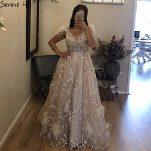 Image 2 - Dubai Champagne V Neck Sexy Evening Dresses 2020 Feathers Crystal Sleeveless Evening Gowns 2020 Serene Hill LA70260