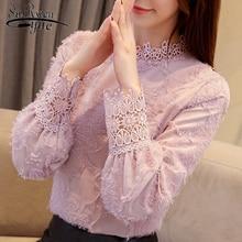 Модные женские блузки шифоновая кружевная блузка нас рубашка плюс размер женские топы одежда с длинными рукавами Блузка женские рубашки топы женские 1667 50