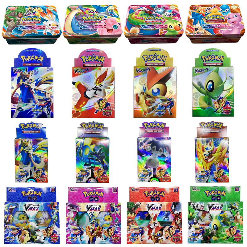42PCS/Iron Box VMAX Sword&Shield Pokemon Cards Game Battle Carte Trading Cards Game Collection Anime Cards For Children