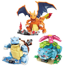 Pokemon Blastoise Pikachu Venusaur Charizard Gyarados Animal Snorlax Jigglypuff Anime action figure Building model Toys gift lno 217pcs charizard pokemon building block