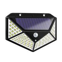1 4 pces 4 side 100 diodo emissor de luz luz solar 3 modo ângulo de 120 graus sensor de movimento solar lâmpada de parede ao ar livre impermeável jardim quintal lâmpadas Lâmpadas solares     -