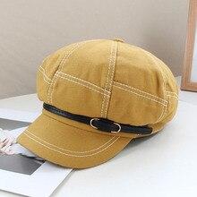 Fibonacci 2020 Autumn Retro Octagonal Hat For Women Solid Patchwork Berets Fashion Korean