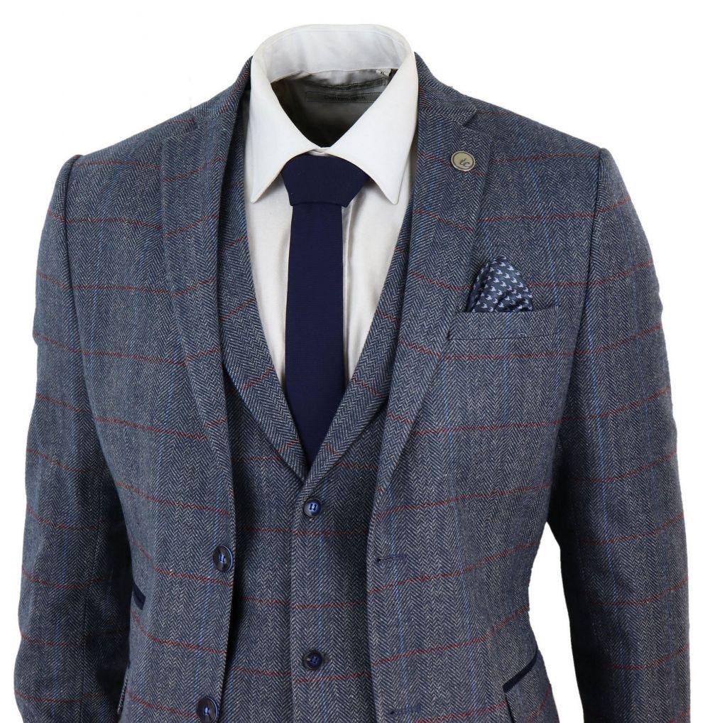 Mens Suits Blue Check Herringbone Tweed Costume Suit Peaky Blinders Suit 3 Piece 1920s Tailored Fit Vintage Wedding Tuxedos Suits  - AliExpress