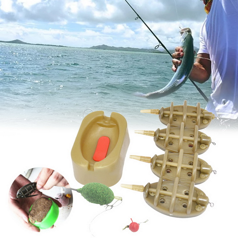 Practical Outdoor Carp Fishing Bait Thrower Tools Portable Flat Method Mold Inline Feeder Easy Apply Durable Sturdy Accessories image