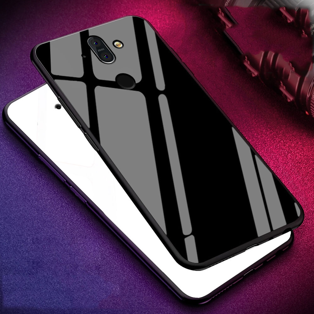 Tempered <font><b>Glass</b></font> Coque Cover 5.8For <font><b>Nokia</b></font> <font><b>6.1</b></font> Plus <font><b>Case</b></font> For <font><b>Nokia</b></font> <font><b>6.1</b></font> 7 Nokia6.1 Nokia7 Plus X6 Dual TA-1055 Back Coque Cover <font><b>Case</b></font> image