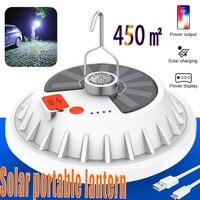 450 ㎡ Super brillante bombilla LED lámpara Solar recargable de Control remoto al aire libre Camping linterna de emergencia portátil de noche luz para mercado