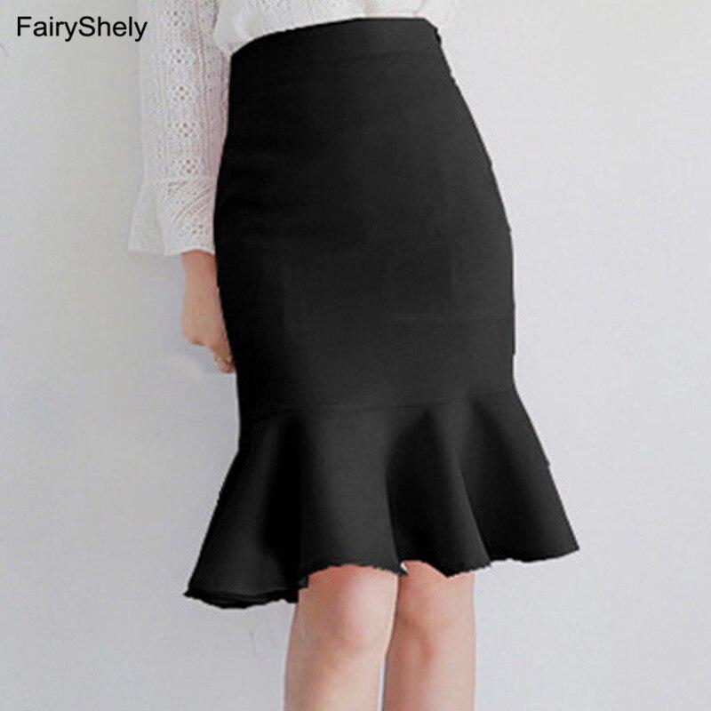 2019 Black Knee Length Ruffle Office Skirt Women Autumn High Waist Mermaid Mini Skirt Ladies Sexy Red Short Work Pleated Skirt