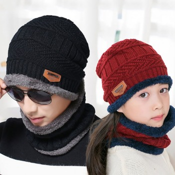 Unisex Winter Hooded Bib Set Thickened Plush Woolen Knitted Hat