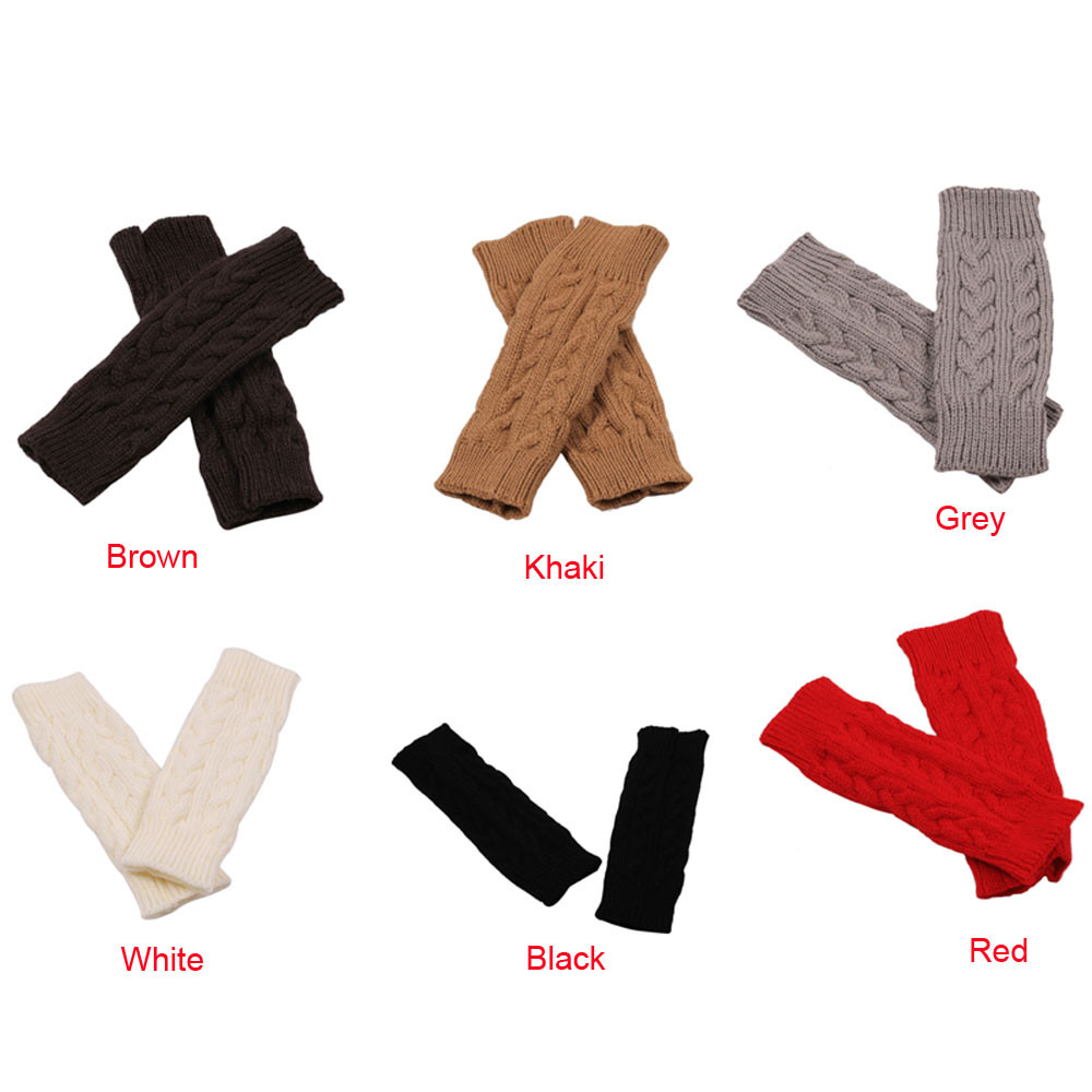 Fashion Winter Women Colourful Gloves 2019 News Women Winter Long Fingerless  Keep Warm  Knitted Fringe Warm Gloves