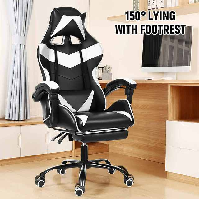 Computer Office Chair Gaming Home Leather Executive Swivel Gamer Chair Lifting Rotatable Armchair Footrest Adjustable Desk Chair 5